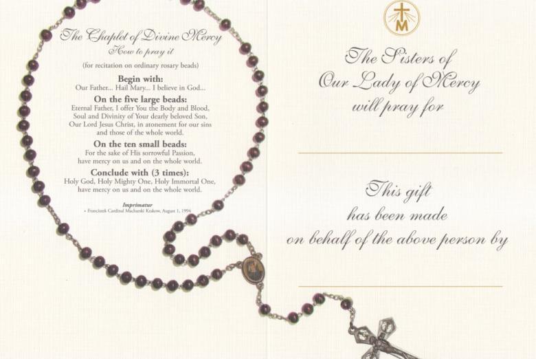 The Inside of the Prayer Enrollment Card